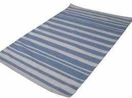 image is loading 6x9cottonlightblueampoffwhitestriped blue striped rug i92