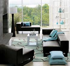 Blue and brown living room decor with brown sofa and blue pillows