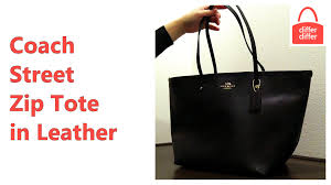 Coach Street Zip Tote in Leather 34103 - YouTube