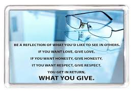 Glasses Quotes 90 Inspiration Fridge Magnet Reflection Mirror Glasses Specs Love Honesty Respect