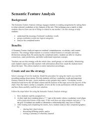 Semantic Feature Analysis Description