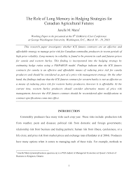 The Role of Long Memory in Hedging Strategies for Canadian Agricultural  Futures