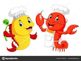 Cute Lobster Chef Fish Chef Cartoon ...