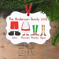Personalized Family Christmas Ornament - Family Christmas Gift - Family Of  5 Elf Feet Round Ornament