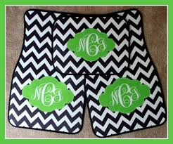 Creativity Green Car Floor Mats Custom Monogrammed Black Chevron And Lime Inspiration Decorating