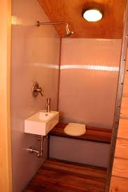 tiny house toilet. idea for a wet bathroom in tiny house - could do fold down bench cover toilet