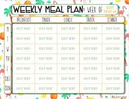 Weekly Meal Planer Weekly Meal Plan Editable Template