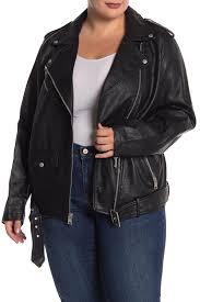 image of levi s faux leather oversized long moto jacket plus