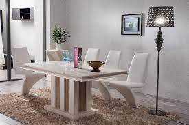 fashionable white marble top dining table with modrest zayd modern white dining chairs and standing floor lamp also artistic wallpaper