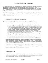 Rv Furnace Will Not Light Furnace Operation Overview