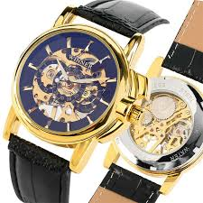 winner wrist watch hand winding mechanical business mens watches leather band