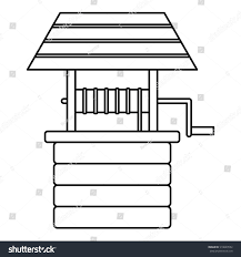 Water Well Design Drawing Water Well Icon Outline Illustration Water Stock Vector