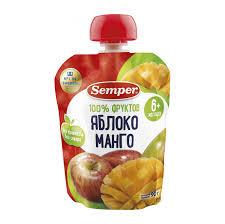<b>Пюре фруктовое Semper</b> Яблоко и манго 90 г (1001342755 ...