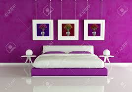 Purple Modern Bedroom Purple Modern Bedroom With Frame With Colored Roses Rendering