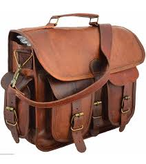 handmade vintage brown leather bag men genuine shoulder messenger hand briefcase
