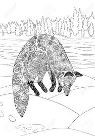 Fox Hunt Adult Coloring Page For Antistress Art Therapy Jumping