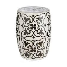 white and black ceramic garden stool