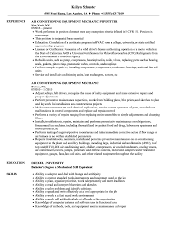 Air Conditioning Mechanic Resume Samples Velvet Jobs