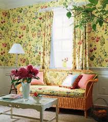country style living rooms. Country Style Living Room With Wicker Sofa And Floral Wallpaper Rooms