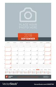 mothly calendar september 2018 wall monthly calendar planner for vector image