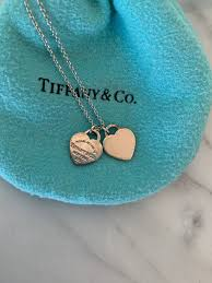 return to tiffany co mini double heart tag pendant necklace enamel silver pink