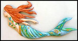 hand painted mermaid wall art island