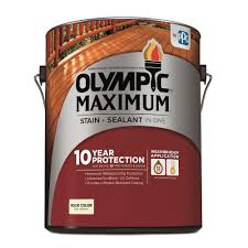 Olympic Maximum Solid Color Stain Color Chart Olympic Maximum 1 Gal White Base 1 Solid Color Exterior Stain And Sealant In One