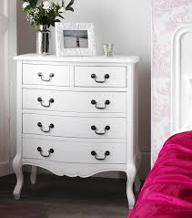white chic bedroom furniture. Juliette Antique White 5 Drawer Chest White Chic Bedroom Furniture B