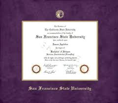 custom diploma frames certificate frames framing success san  san francisco state university diploma pre 1 15 frame purple suede and gold double mat and gold embossing approximate frame size 17 x 19 inches