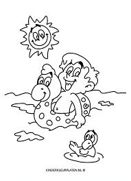 Kleurplaat Strand Zon Zwemband Vakantie