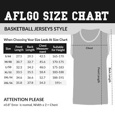 Jersey Size Chart Size Charts Aflgo