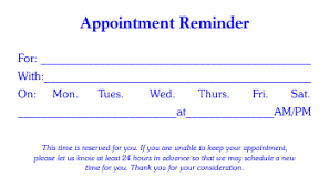 Appointment Card Template Appointment Card Templates