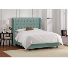 skyline furniture tufted wingback bed in velvet caribbean  free