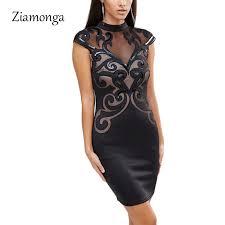 Ziamonga <b>Plus Size</b> S XXL Mesh <b>Patchwork</b> Bodycon Dress Sexy ...