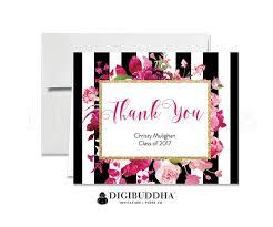 Graduation Thank You Cards Folded Thank You Black White Stripe Pink