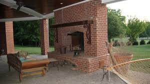 outdoor brick kitchen home designs with fireplace