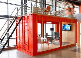 99c offices by inhouse brand architects feature a waiting room inside a shipping container brand architecture office