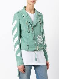 off white striped print biker jacket mint white women clothing jackets off white jeans