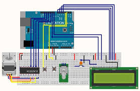 stepper motor control system based on arduino uln2003 chip picture of overall hardware connected diagram