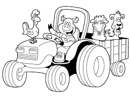 Cartoon tractor coloring pages for kids - ColoringStar