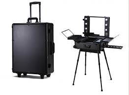 professional makeup station trolley aluminum makeup case with lightirror rolling cosmetic case