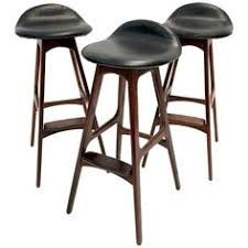 set of three vine danish barstools by erik buch in rosewood and black leather