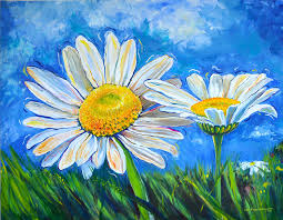 daisy painting windswept daisies by lisa fiedler jaworski