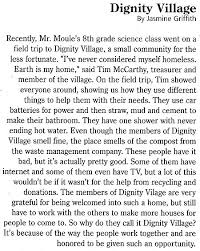 dignity village also in the current issue of street roots are these words from whitaker middle school including tim mccarthy by jessica jerkins dignity village by trisha