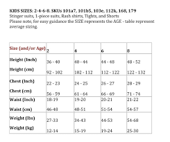 full body measurement chart full body stinger swimsuit boys sizes 2 8 solartex sun gear