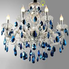 modern peacock blue crystal chandelier in silver finish 8716