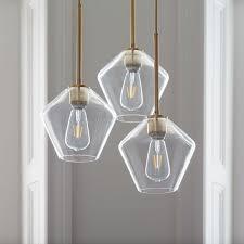sculptural glass geo 3 light chandelier small