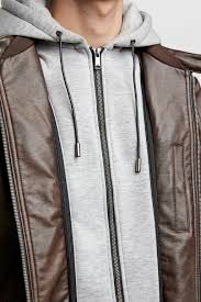 zara contrasting faux leather jacket with a round neckline write a review