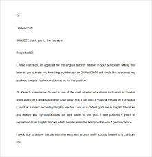 Thank You Letter After School Interview Letters Font