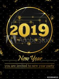 Happy New Year 2019 wishes greeting card template background design ...